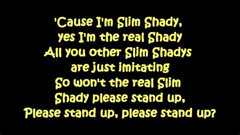 Eminem The Real Slim Shady Lyrics | eminem the real slim shady lyrics hd hq youtube