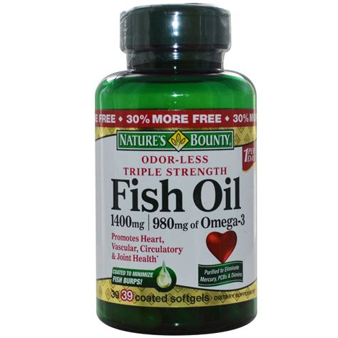 Nature's Bounty, Fish Oil, 1400 mg, 39 Coated Softgels ...