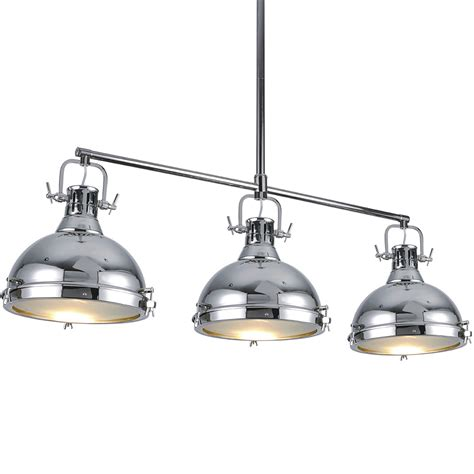 3 Light Island Fixture Chandelier Hanging Chrome Light Fixture Ceiling Three Simple White Awesome Bulb Inside