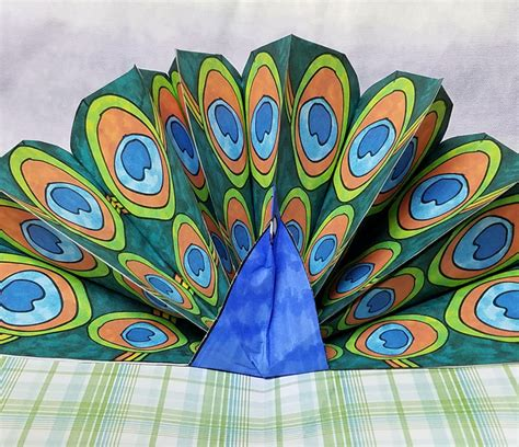 How To Make Peacock Feather With Paper - peacock craft pop up paper peacock with free printable