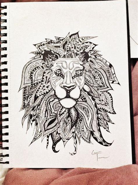 Zentangle Lion Pattern   lion zentangle design z doodling iz z best pinterest