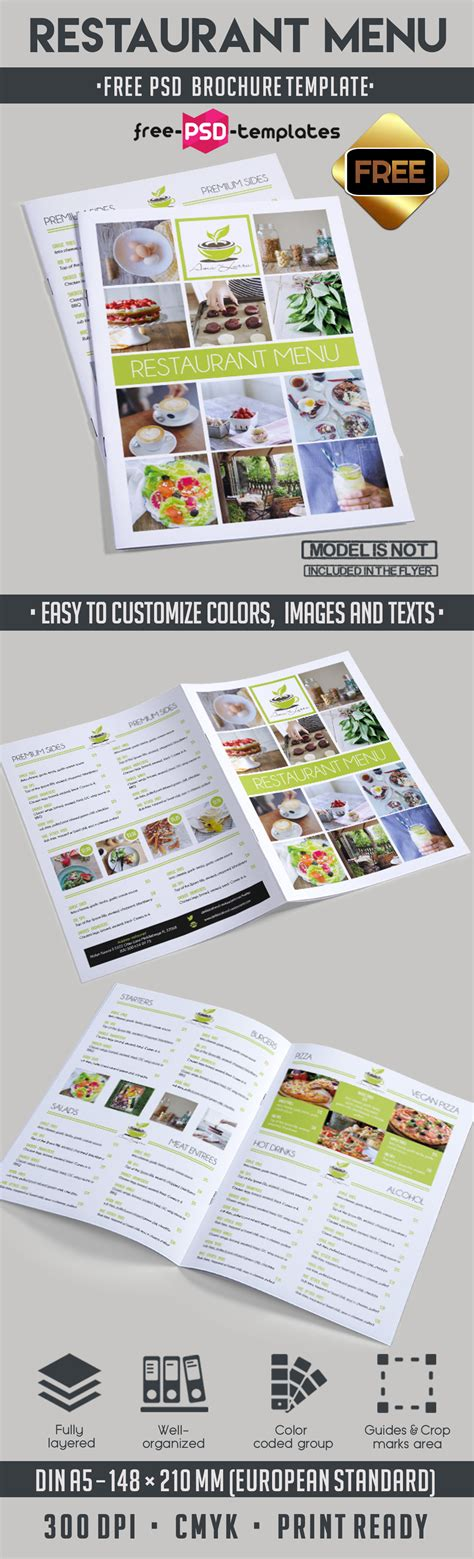 Menu Brochure Template Free by Restaurant Menu Bi Fold Brochure Template Free Psd Templates