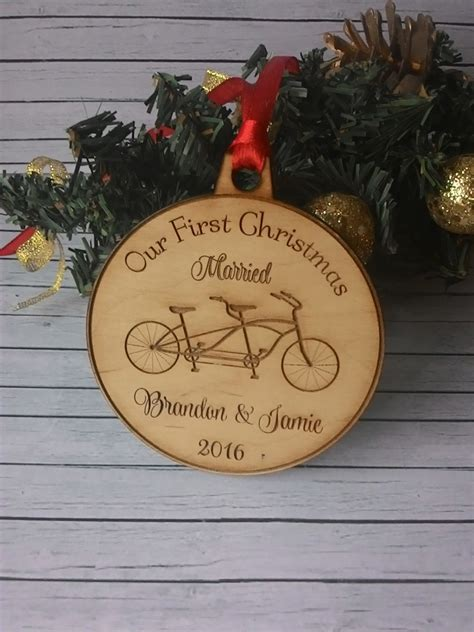 our first christmas married ornament personalized couples gift