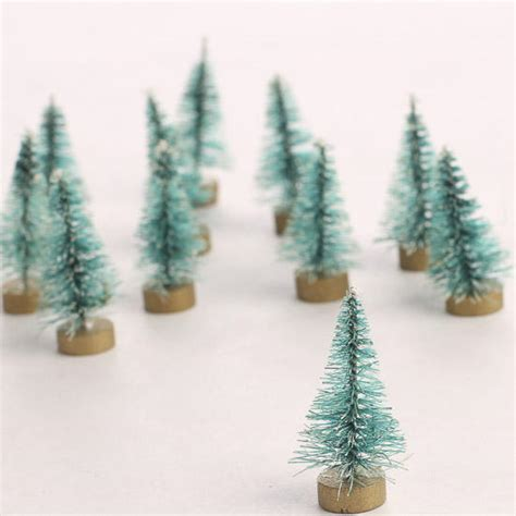 miniature frosted bottle brush trees christmas