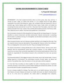 Environment Essay by Save Environment