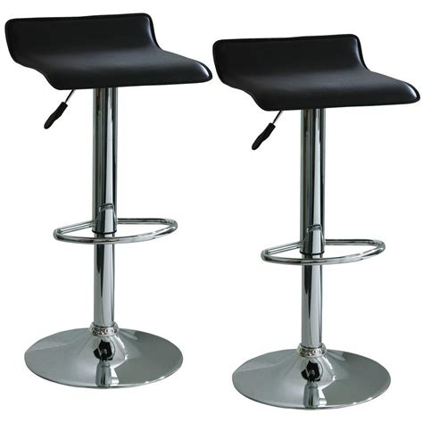 amerihome black adjustable height vinyl bar stool 2
