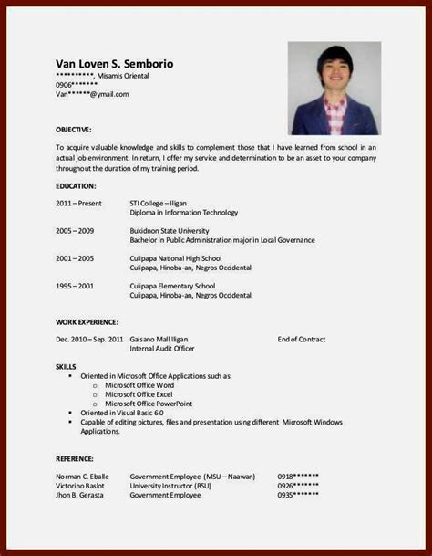 resume format for students with no experience pdf cv sles for students with no experience pdf resume