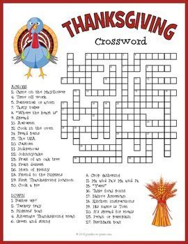 Difficult Thanksgiving Crossword Puzzles Printable