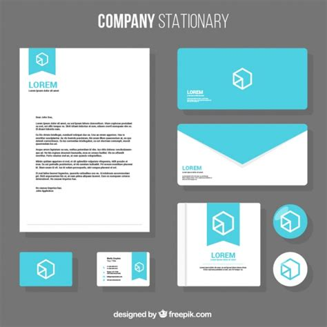 business stationery template with geometric design vector