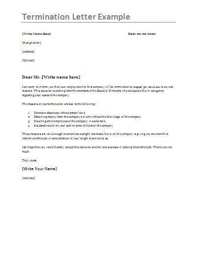 termination letter templates printable ms word