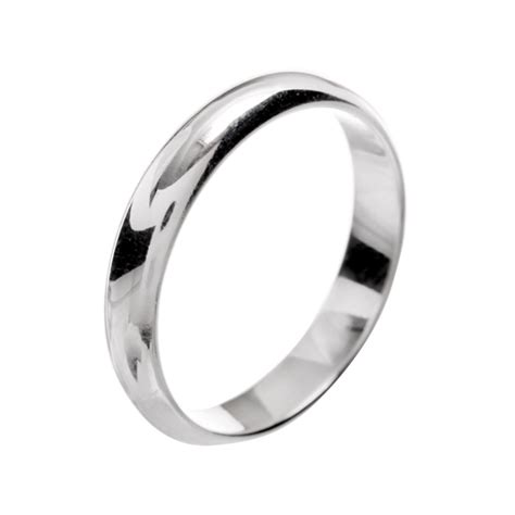sterling silver 4mm d shaped plain band ring