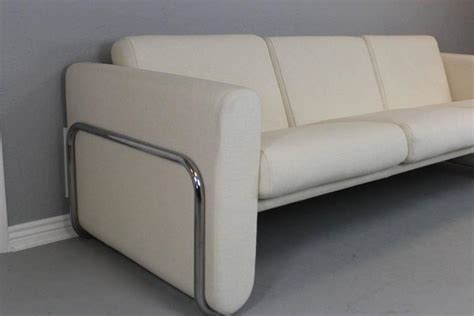 Steel Frame Sofa by Lecorbusier Style White Sofa With Wrap Around Stainless