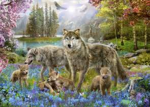 wolf wall murals spring wolf family wall mural amp photo wallpaper photowall