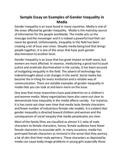 Gender Inequality Essays by Sle Essay On Exles Of Gender Inequality In Media