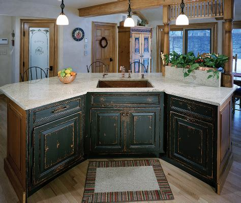 Painted And Stained Kitchen Cabinets Custom Stained Painted Distressed Island Cabinets Winchester Ma Northshore Kitchens Plus