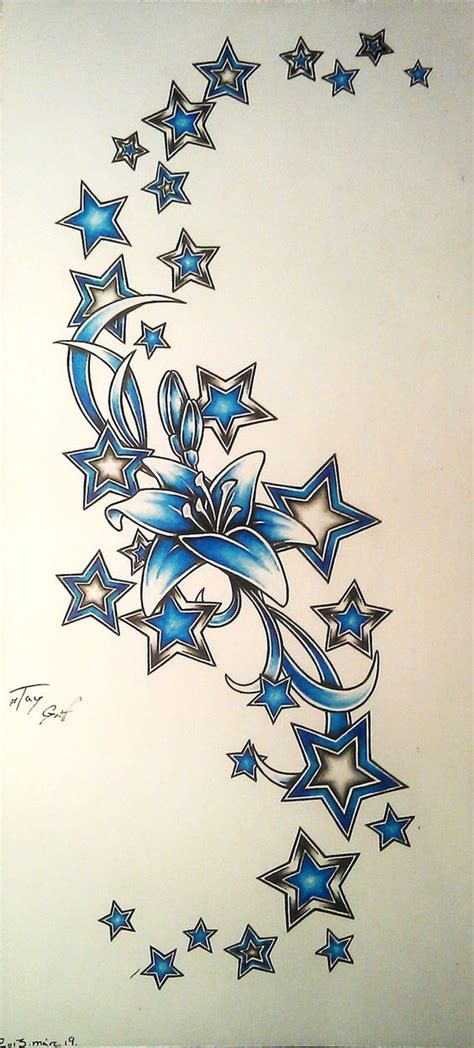 lily and stars tattoo designs design by taygriff for me personally