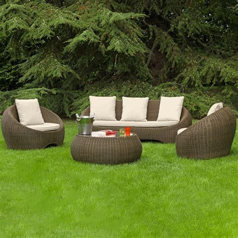 salotto giardino salotto da giardino in wicker barcellona con cuscini
