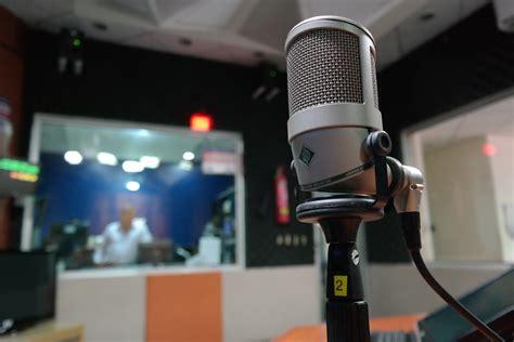 black headset hanging  black  gray microphone  stock photo