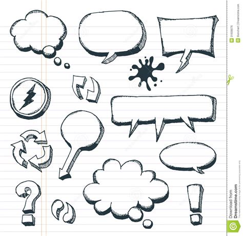 doodle bubbles vector free arrows speech bubbles and doodle elements set royalty