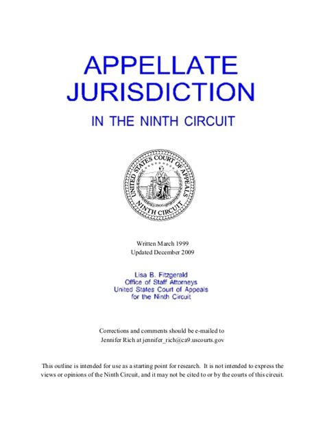 Ninth Circuit Search Ninth Circuit Appellate Jurisdiction Outline 9th Circuit 452 Pages