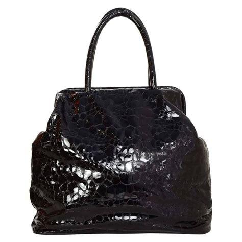 Jil Sander Work Size Patent Handbag by Jil Sander Black Embossed Patent Large Frame Tote Bag Shw