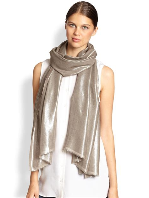 bajra glitter twill weave scarf in gold pewter lyst