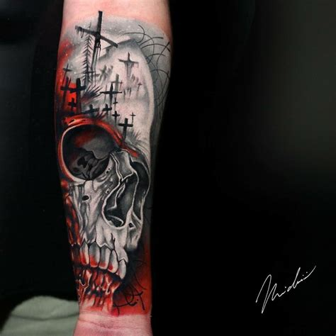 red skull tattoo awesome black and works fo skull and cemetery