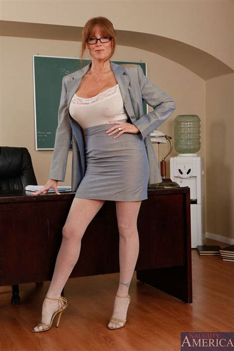 secretary bent over her desk darla crane gorgeous redhead teacher in white nylons gets