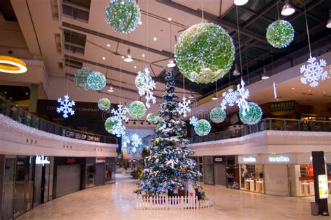 christmas decorations at mall editorial stock image