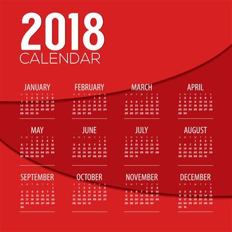calendar design eps red 2018 calendar template design vector 01 vector