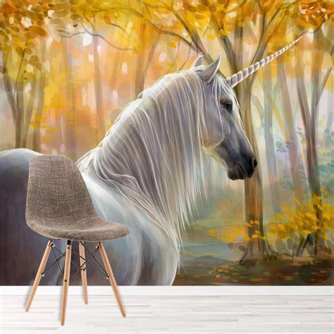 autumn forest unicorn wall mural wallpaper