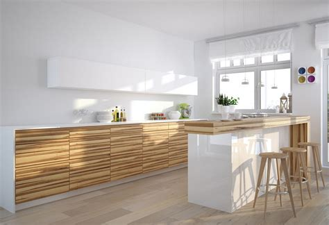 white kitchen with wood grain cabinet 3d house