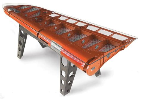 Airplane Wing Coffee Table Motoart Builds 30 000 Tables With Recycled Airplane Parts Goose