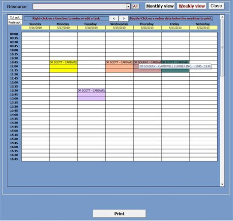 Appointment Planner With Image Manager Ms Access Templates Microsoft Access Calendar Template