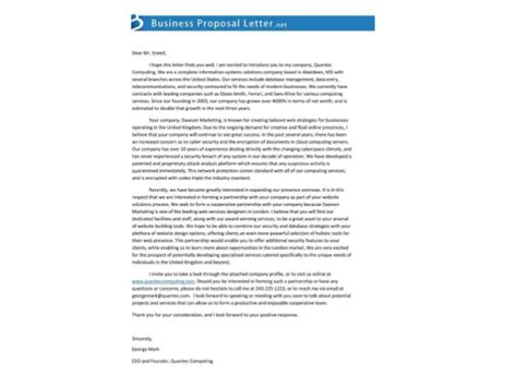 Letter For Business Cooperation Cooperation Partnership Letter