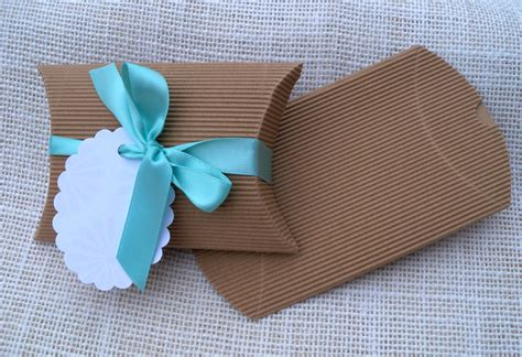 Corrugated Pillow Boxes by Items Similar To Kraft Corrugated Pillow Box With Gift Tag And Ribbon For Wedding Or