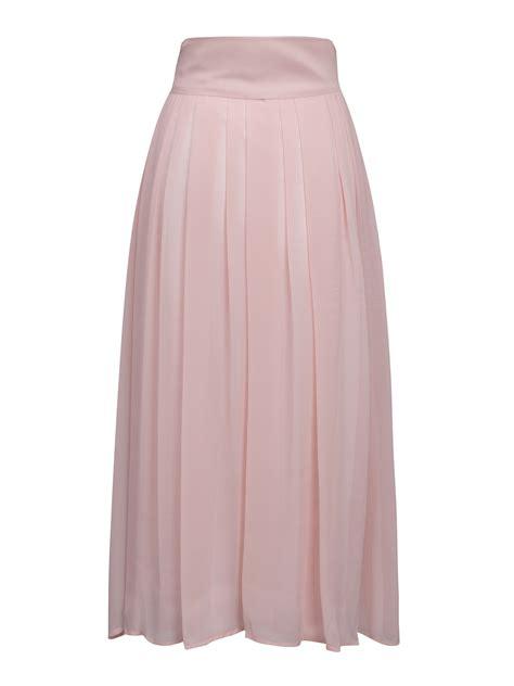 pink high waist overlay chiffon skirt choies