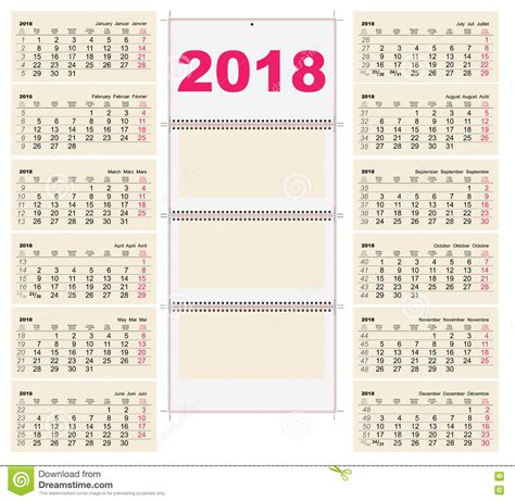 Calendrier 2018 25 Power Template Grid Wall Calendar 2018 Day Monday Stock