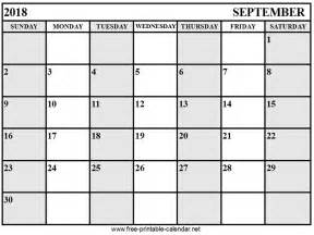 2018 Calendar September Calendar September 2018 Print Calendars From