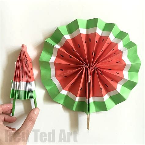 Make Paper Fans - diy paper fan melon fans paper toys diy paper and