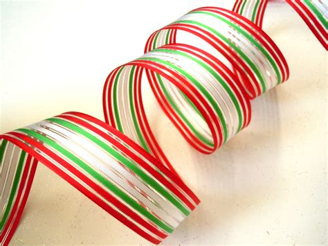 wired christmas ribbon decorations white red green stripes