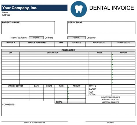 dental invoice template free dental invoice template excel pdf word doc
