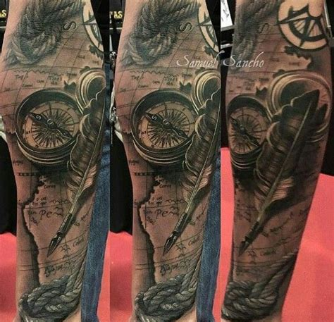 tattoo arm compass ocean beach maritim tattoos