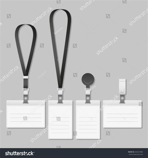Lanyard Name Tag Holder End Badge Stock Vector 202527082 Shutterstock Lanyard Name Badge Template
