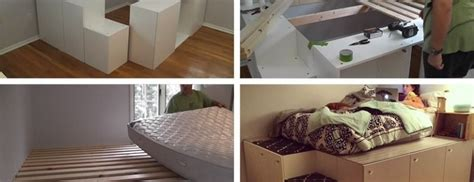 diy platform bed  ikea kitchen cabinets beesdiycom