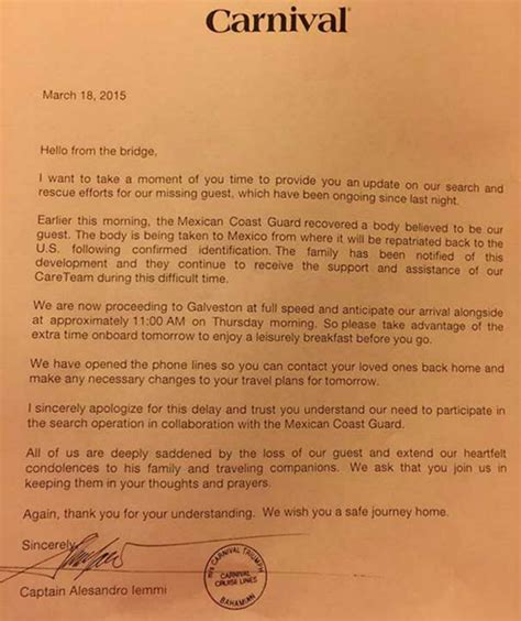 Complaint Letter To Cruise Company Carnival Triumph Arrives In Galveston Following Tragedy Abc13