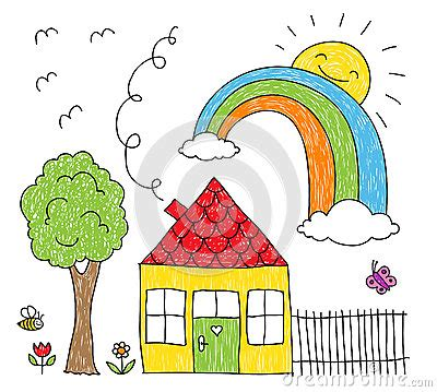 House Plan Symbols kid s drawing of a house rainbow and tree stock vector