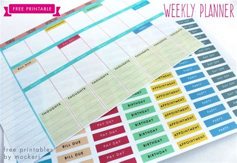 gtd printable planner free printable weekly planner mockeri agenda planner