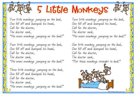 5 monkeys jumping on the bed lyrics five little monkeys jumping on the bed