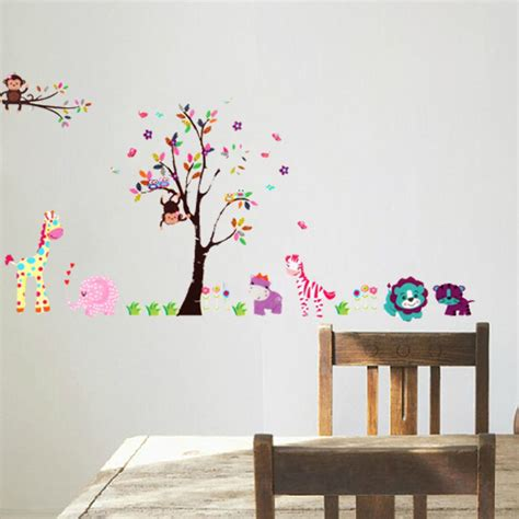 giant wall stickers for kids bedroom other furniture decor 2pcs large jungle tree wall